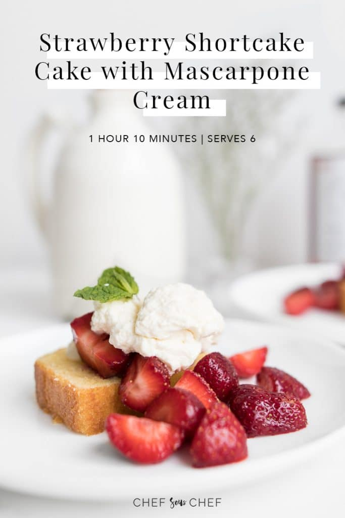 Strawberry Shortcake Cake with Mascarpone Cream Pinterest Image