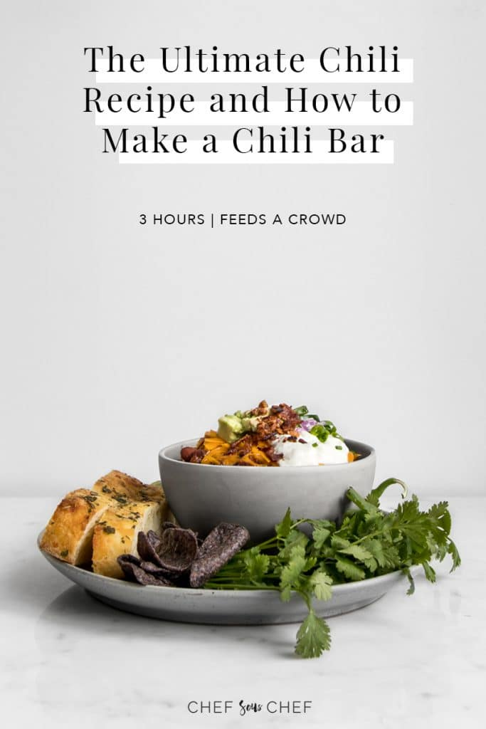 Bowl of Chili on a Plate with Fixings and Text Overlay