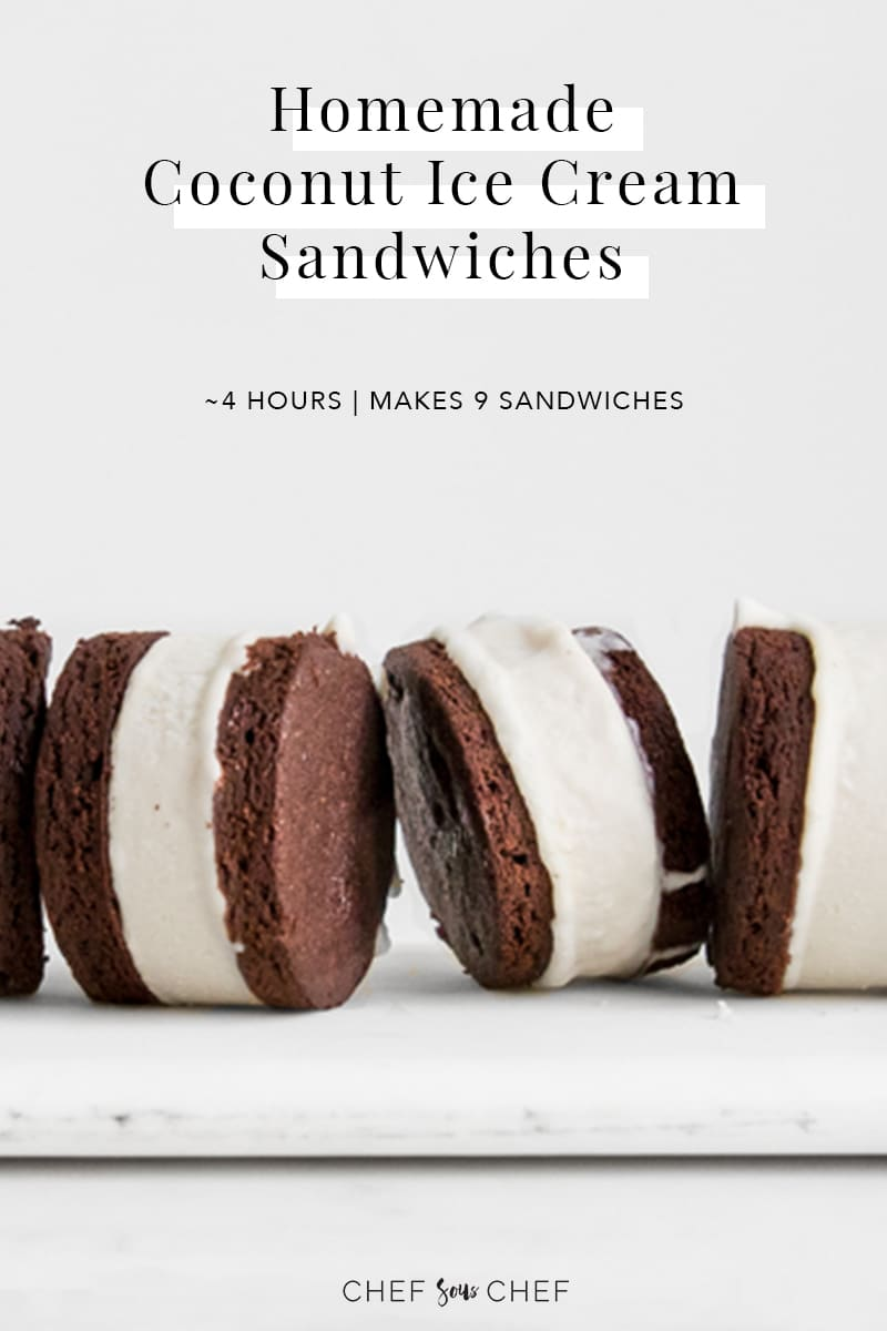 Standing Ice Cream Sandwiches on a board with text overlay
