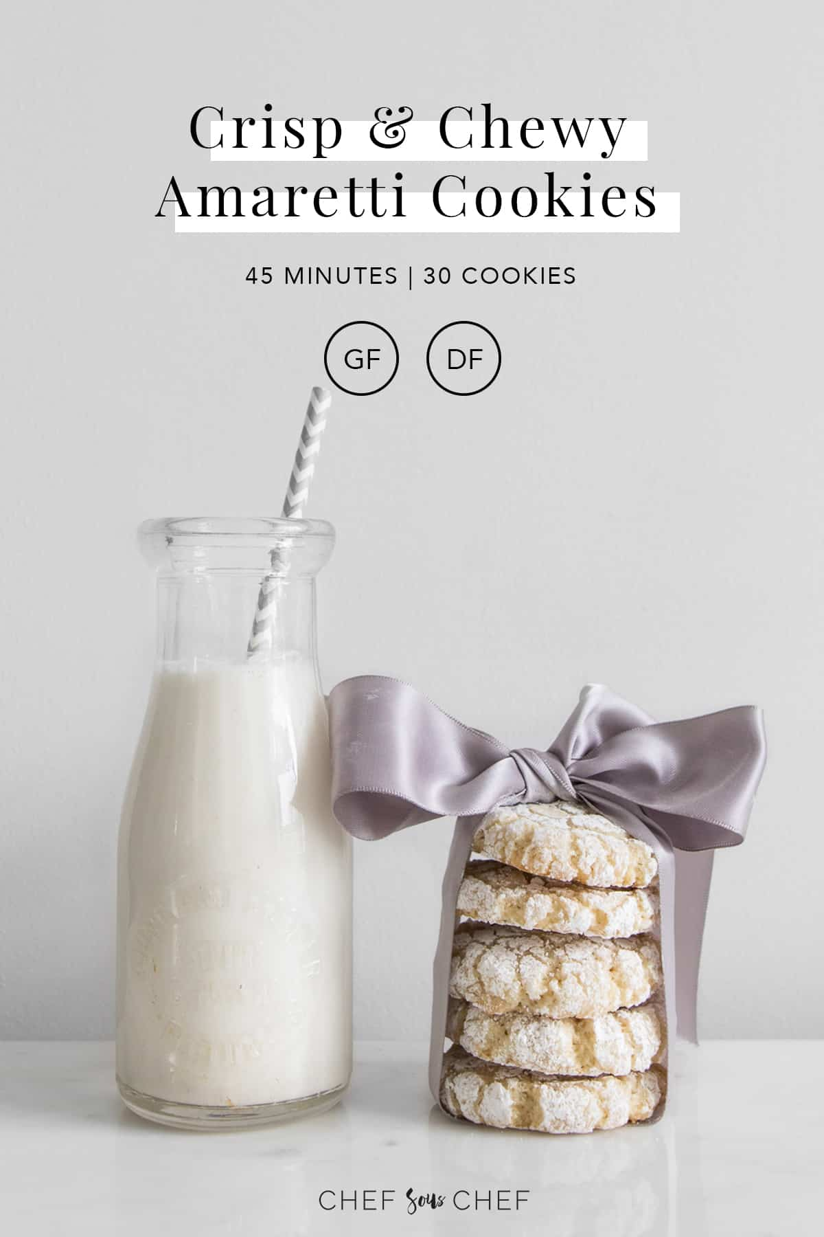 Amaretti Cookies wrapped in purple ribbon next to jar of milk with text overlay