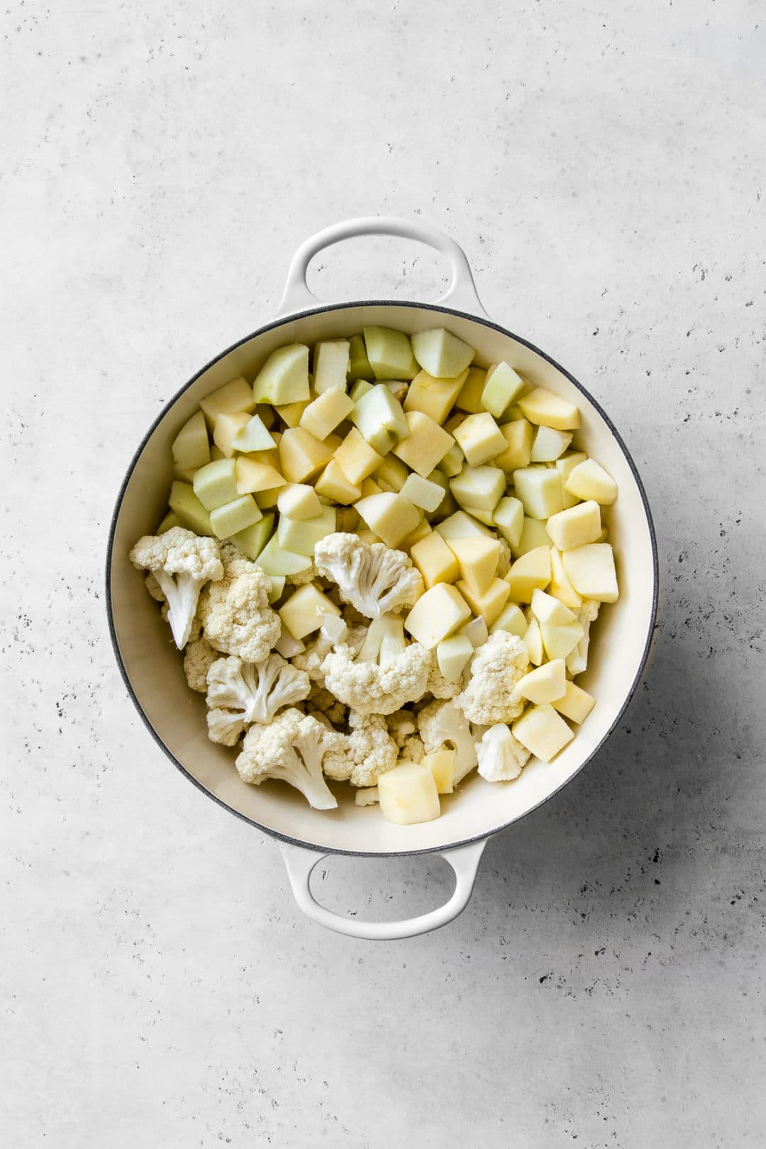 Cauliflower and Apples in a Pot