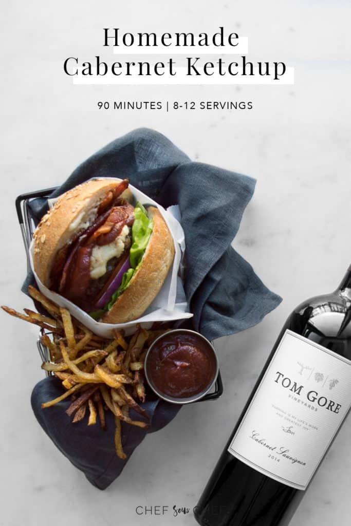 Burger, red wine, fries, and ketchup with recipe text