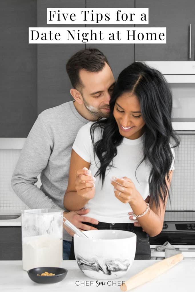 Couple snuggling and baking and date night at home text