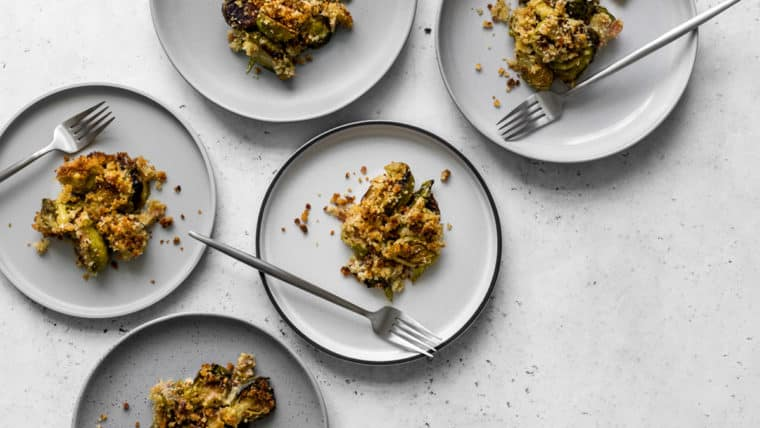 5 plates with brussels sprout gratin