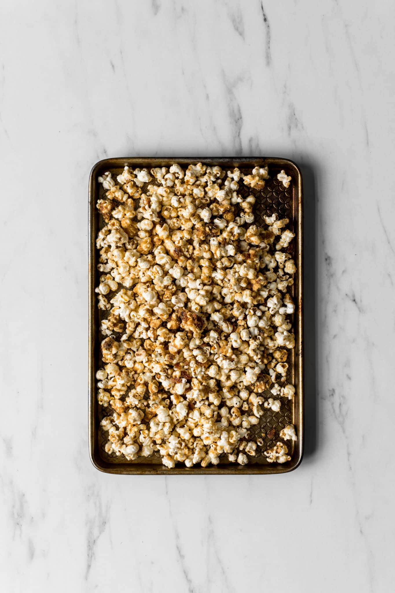 Baking Sheet with Maple Caramel Popcorn with Bacon