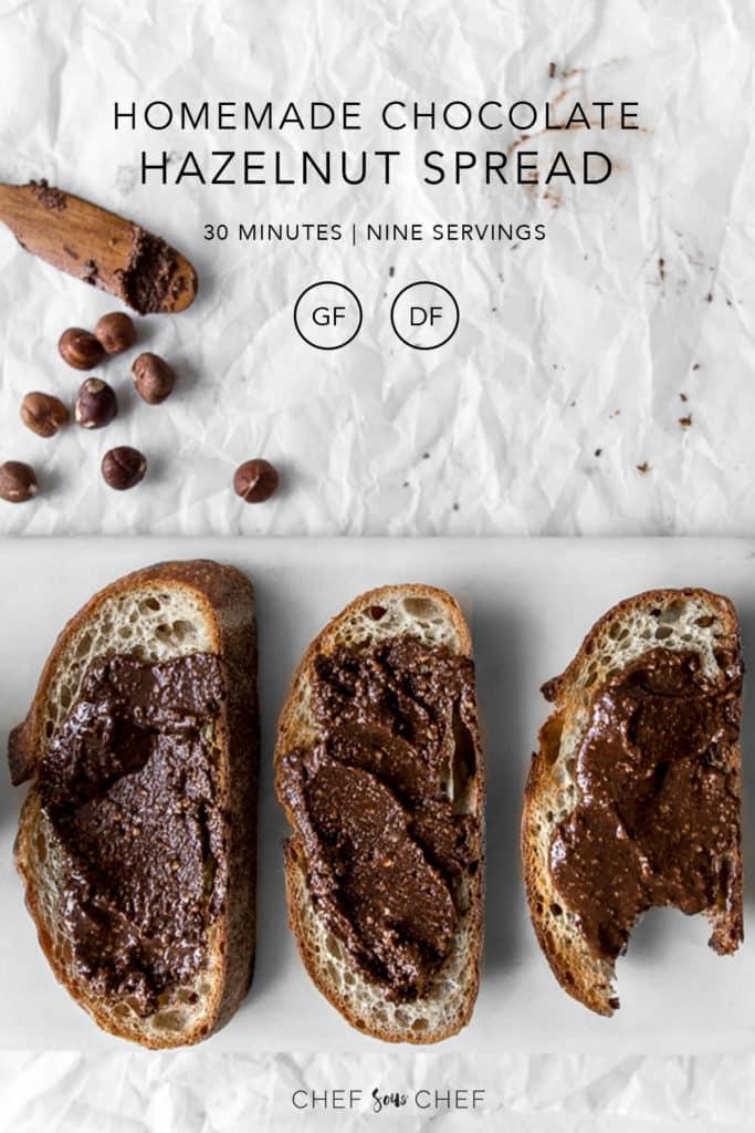 Three pieces of toast with chocolate hazelnut spread