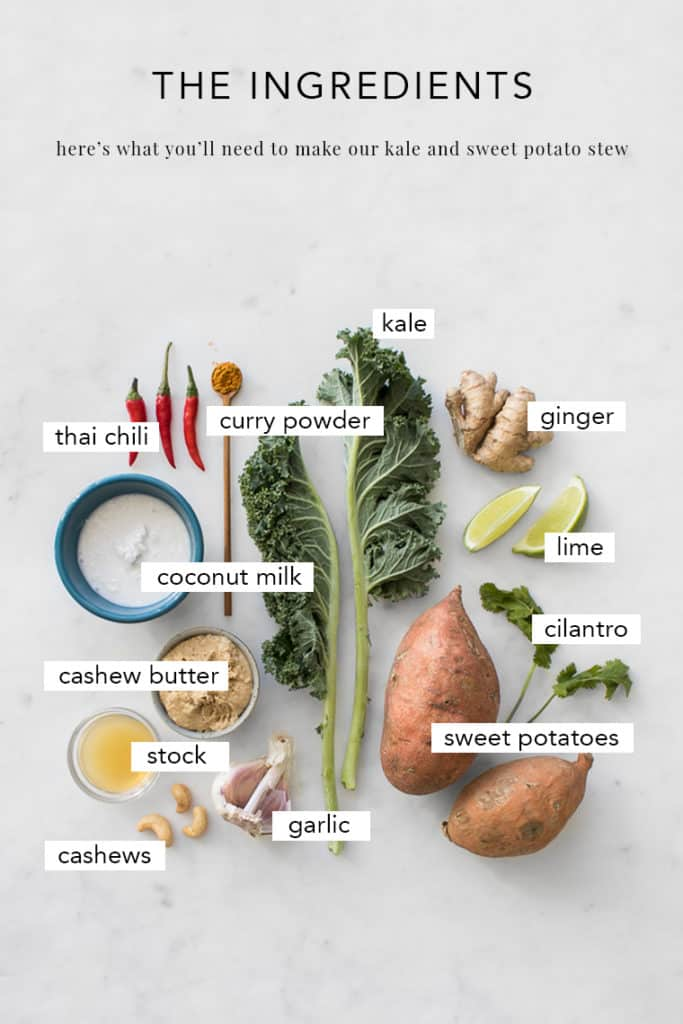 Ingredients to make a kale and sweet potato stew with labels