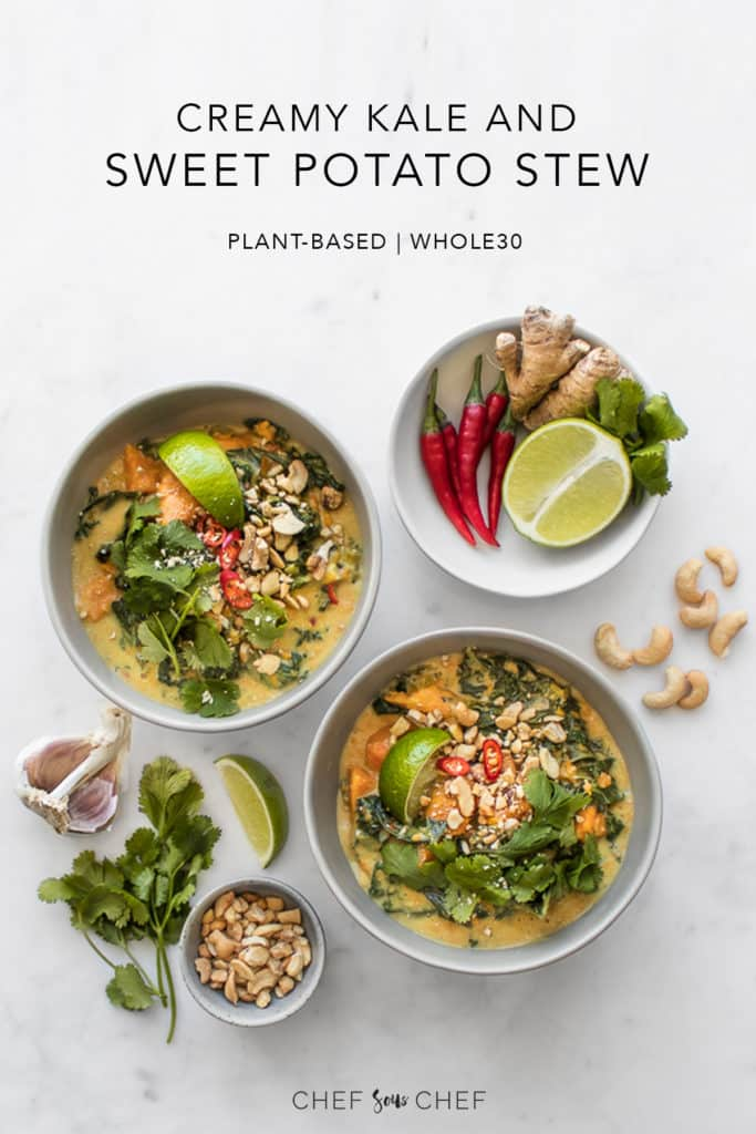 Two bowls of kale and sweet potato stew with garnishes in bowls