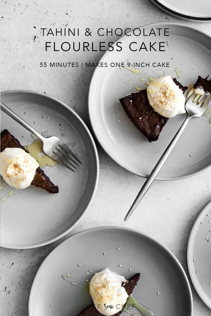 3 slices of Flourless Chocolate Cake on Plates with Whipped Cream and Honey