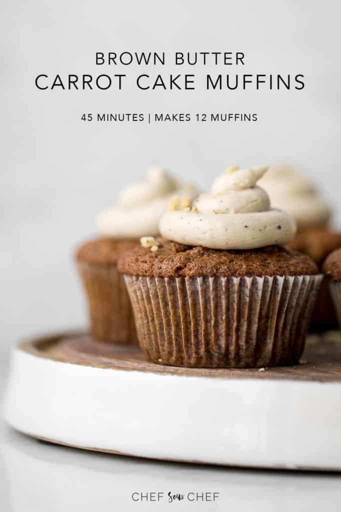 Brown Butter Carrot Cake Muffins on a wooden board with text
