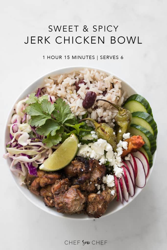 Sweet and Spicy Jerk Chicken Bowl up Close with Recipe Text