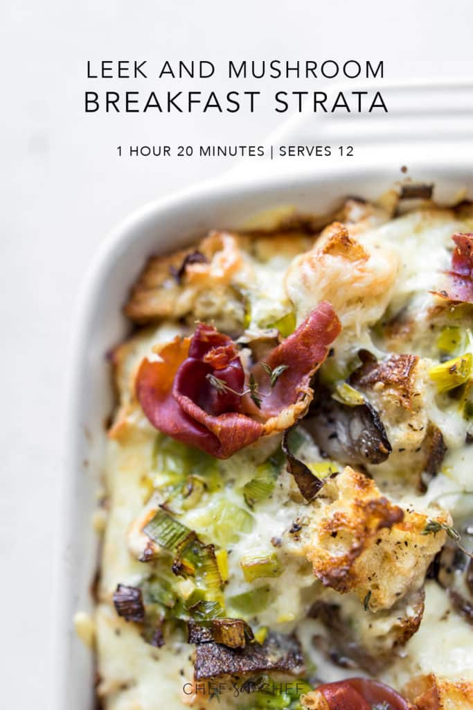Close up image of Breakfast Strata with Mushrooms, Leeks and Prosciuttoo