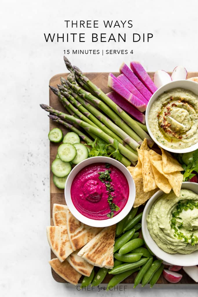 Wooden Board with Vegetables and Three Dips