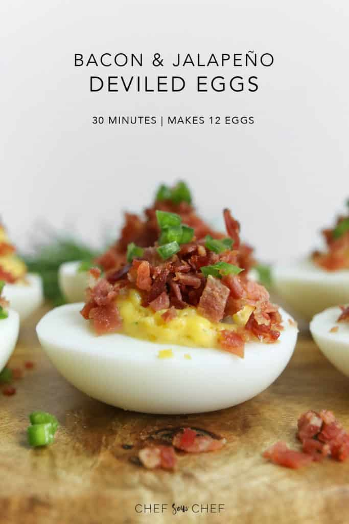 Deviled Egg with bacon and jalapeno on a wood board
