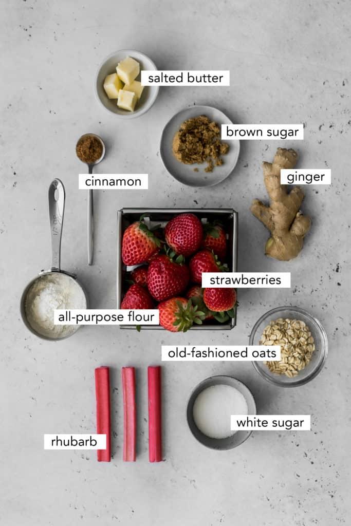 Ingredients needed to make Strawberry Rhubarb Crisp