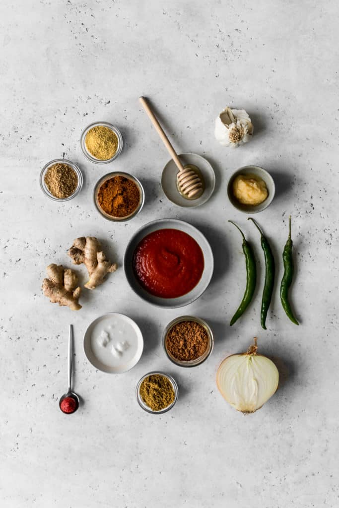 Ingredients to make butter chicken sauce