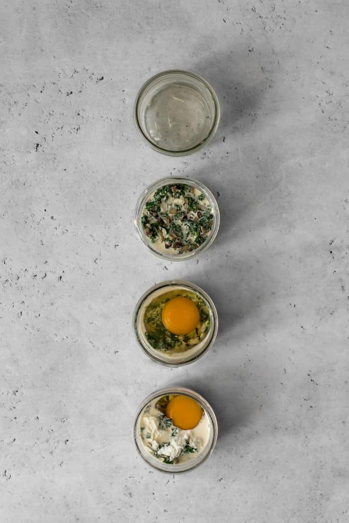 The steps of assembling our kale and mushroom coddled eggs