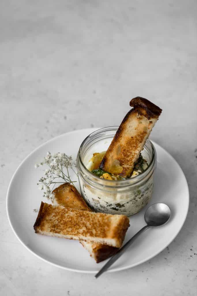 Mason jar coddled eggs with toast