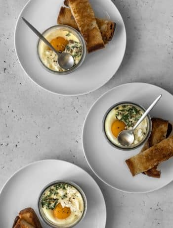 Three jars of coddled eggs