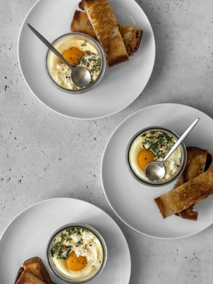 Three jars of coddled eggs