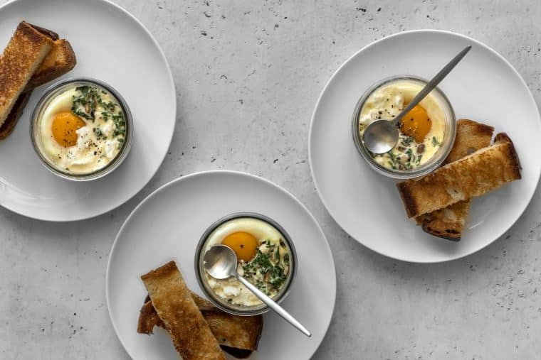 3 mason jar coddled eggs with toast