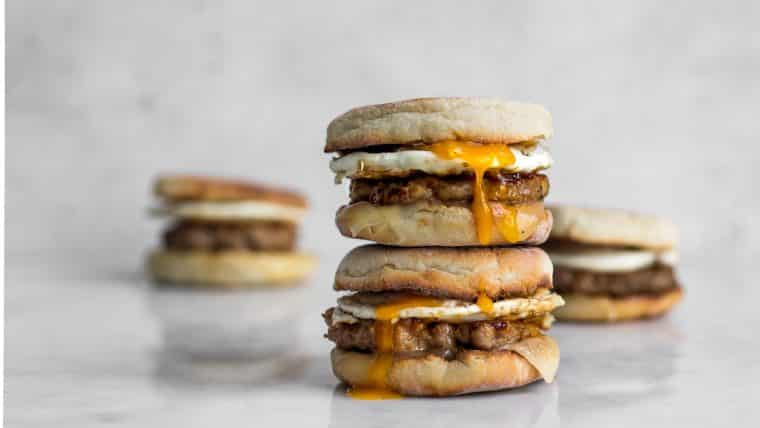 Four Sausage and Egg Breakfast Sandwiches