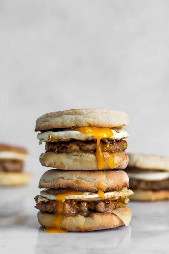Stacked Sausage and Egg Breakfast Sandwiches