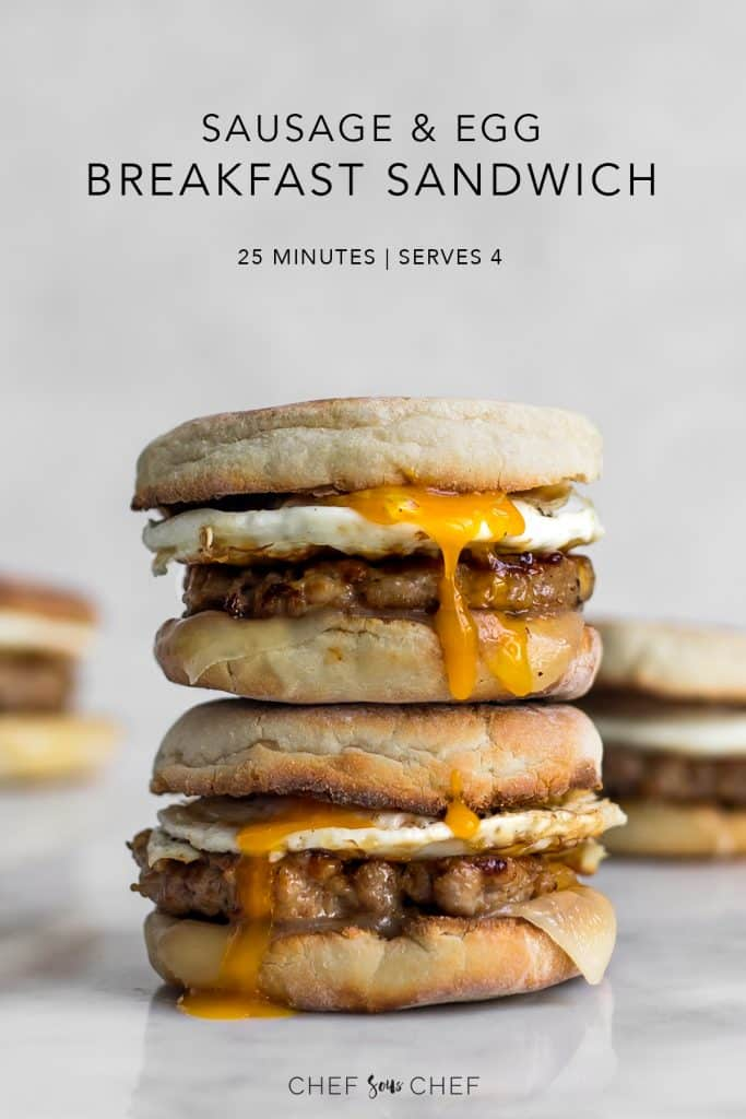 Sausage and Egg McMuffin Breakfast Sandwich Pin