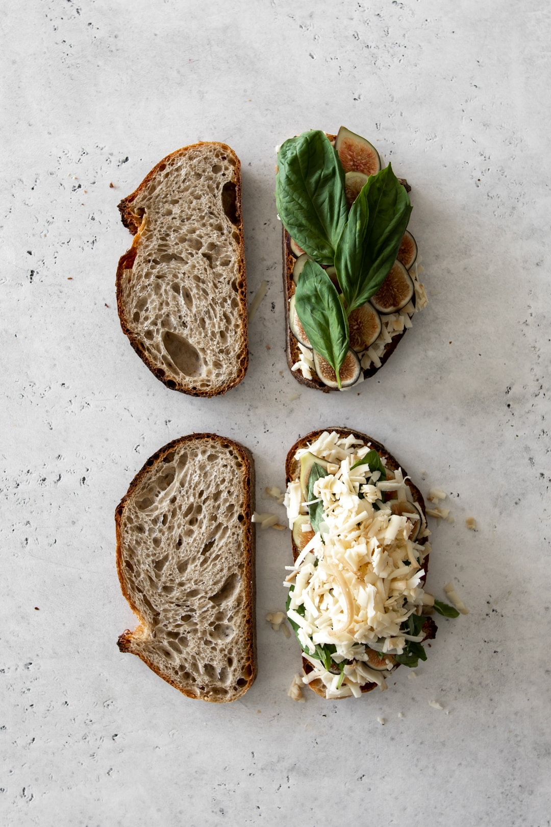 Assembly process of a fig and basil grilled cheese