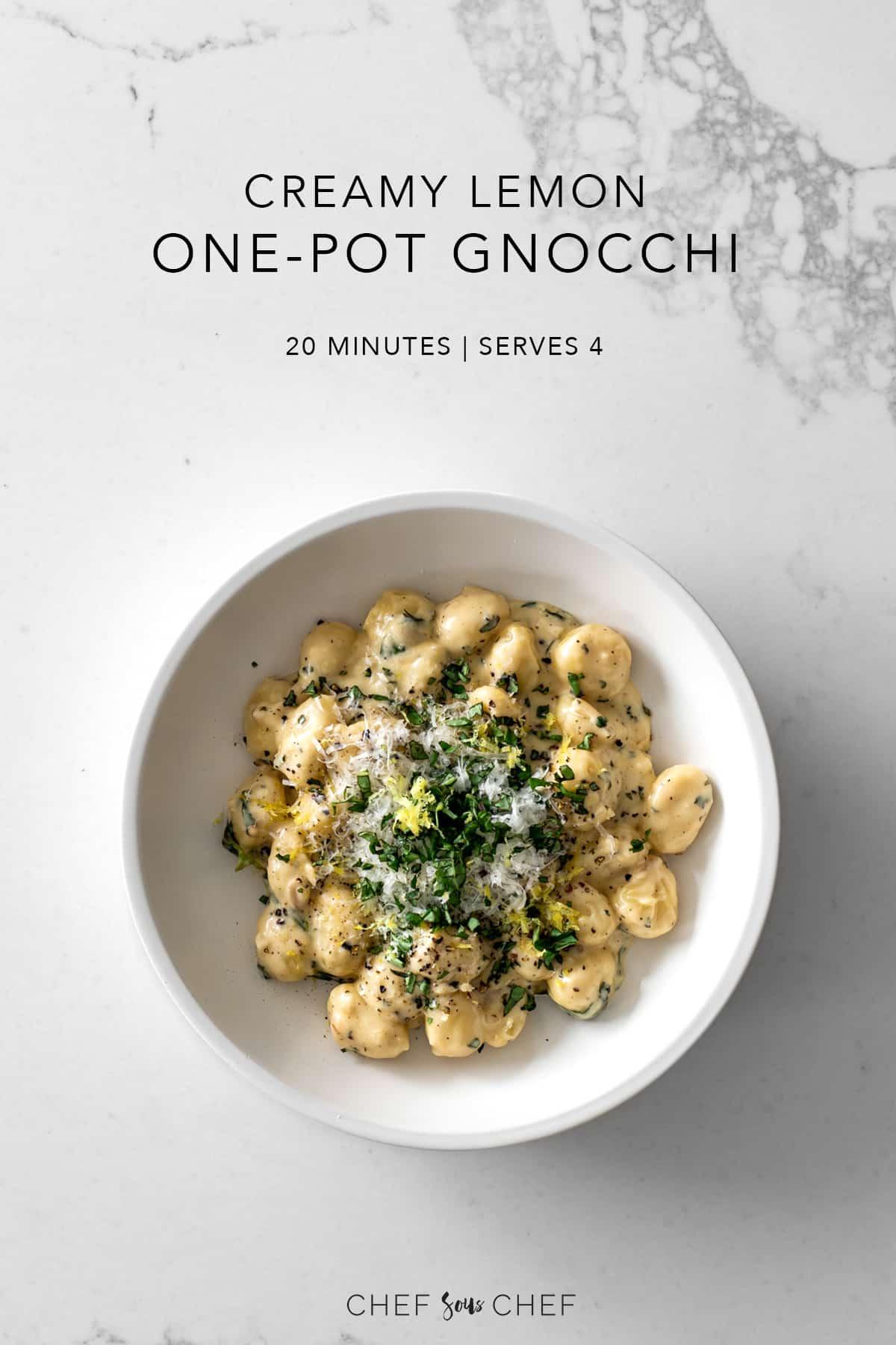 Creamy Lemon One-Pot Gnocchi Pinterest Image