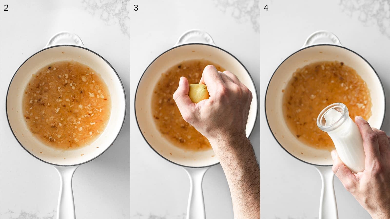 Steps for making lemon cream sauce.