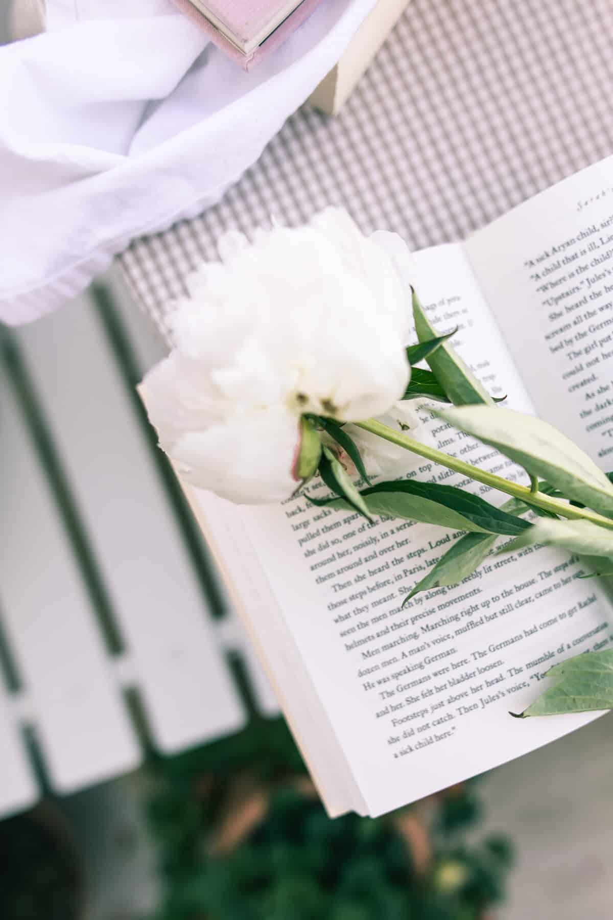 Peonies set atop an open book.