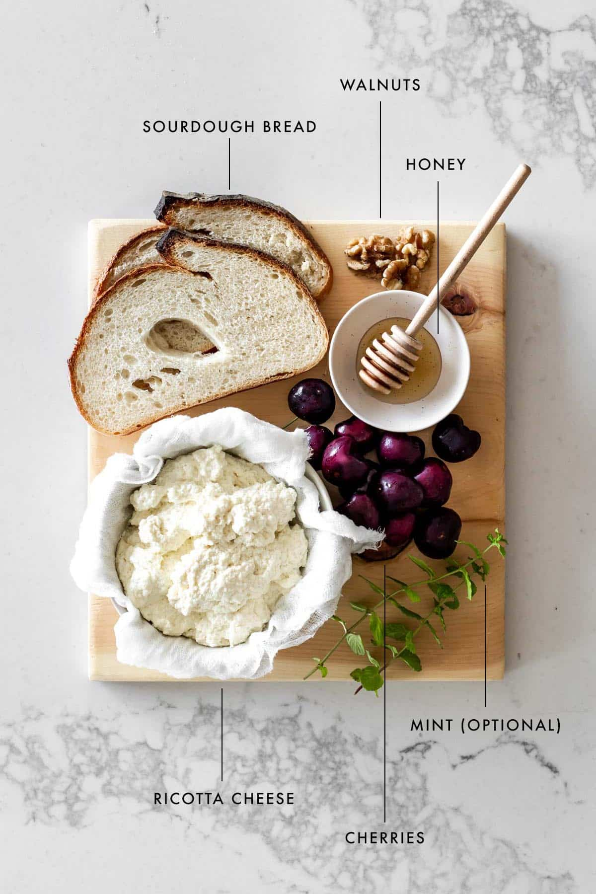 Ingredients to make Homemade Ricotta Toast with Cherries