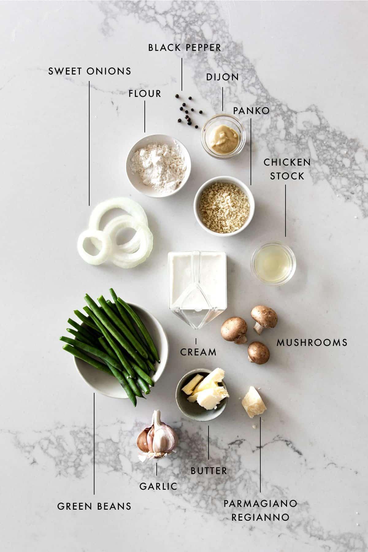 Ingredients to make homemade green bean casserole